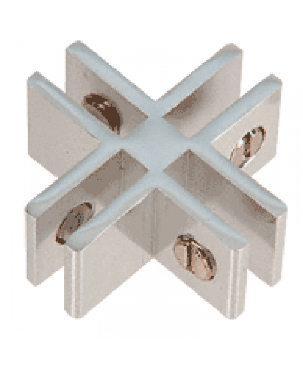 Chrome Anodized Aluminum 4-Way 90° Connectors for 1/4 inch