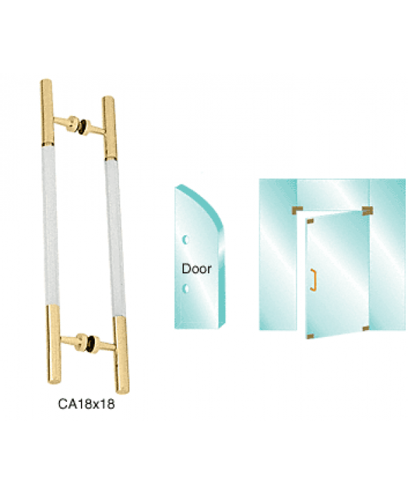 Glass Mounted Ladder Style Pull Handle with Acrylic Semi-Inserts Pull Handle