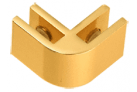 Gold Anodized Aluminum 2-Way 90° Connectors for 1/4 inch Glass