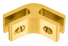 Gold Anodized Anodized Aluminum 2-Way 120° Connectors for 1/4 inch Glass