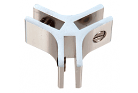 Chrome Anodized Aluminum 3-Way 120° Connectors for 1/4 inch Glass