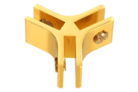 Gold Anodized Aluminum 3-Way 120° Connectors for 1/4 inch Glass