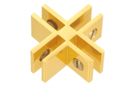 Gold Anodized Aluminum 4-Way 90° Connectors for 1/4 inch Glass